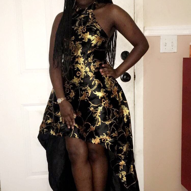 20e9f9661c54 @yammy123. last year. East Islip, United States. Prom dress. Black and gold  dress