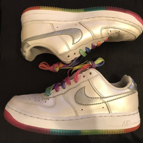 774a3a9524471 Vintage Nike Air Force Rainbow. Size 4. Great condition. £25 - Depop
