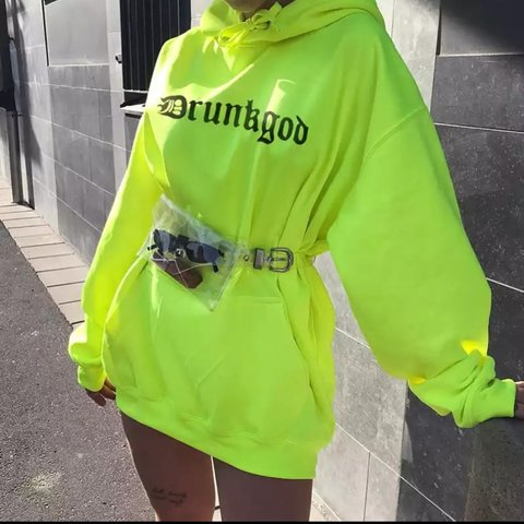 4d59bc0afa22 @thefashionbible___. 5 months ago. London, United Kingdom. Jumper dress in neon  yellow. Bralette Sequin mesh sheer ...