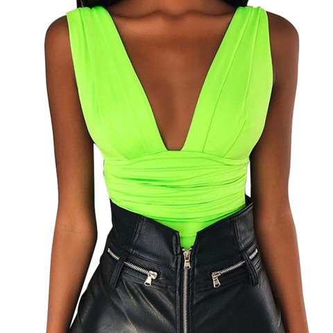 b2bc55b3195 Cute neon bodysuit available in pink and black also Sequin - Depop