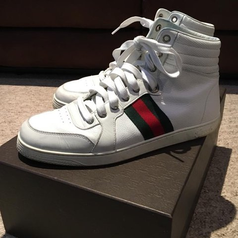 678481ee412 Genuine Gucci Coda white leather high top trainers sneakers. - Depop