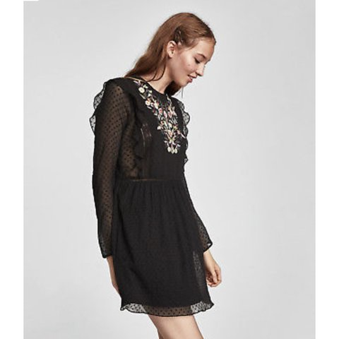 d73e3a4744a Zara black embroidered frill dress with floral detail Size - Depop