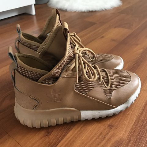 Camel colored Adidas tubular shoe... there