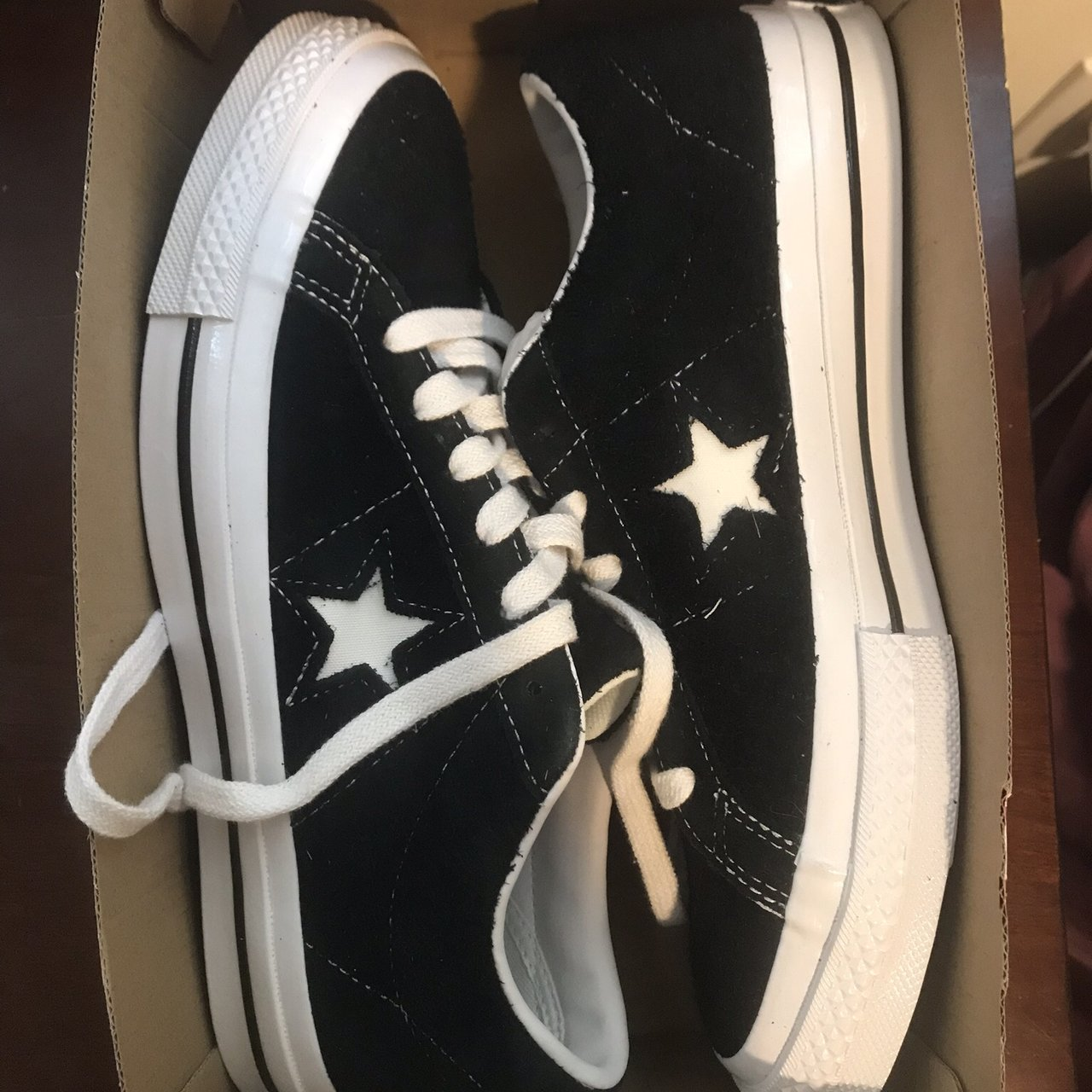fed280069a2 brand new in box never worn one star black converse size - Depop