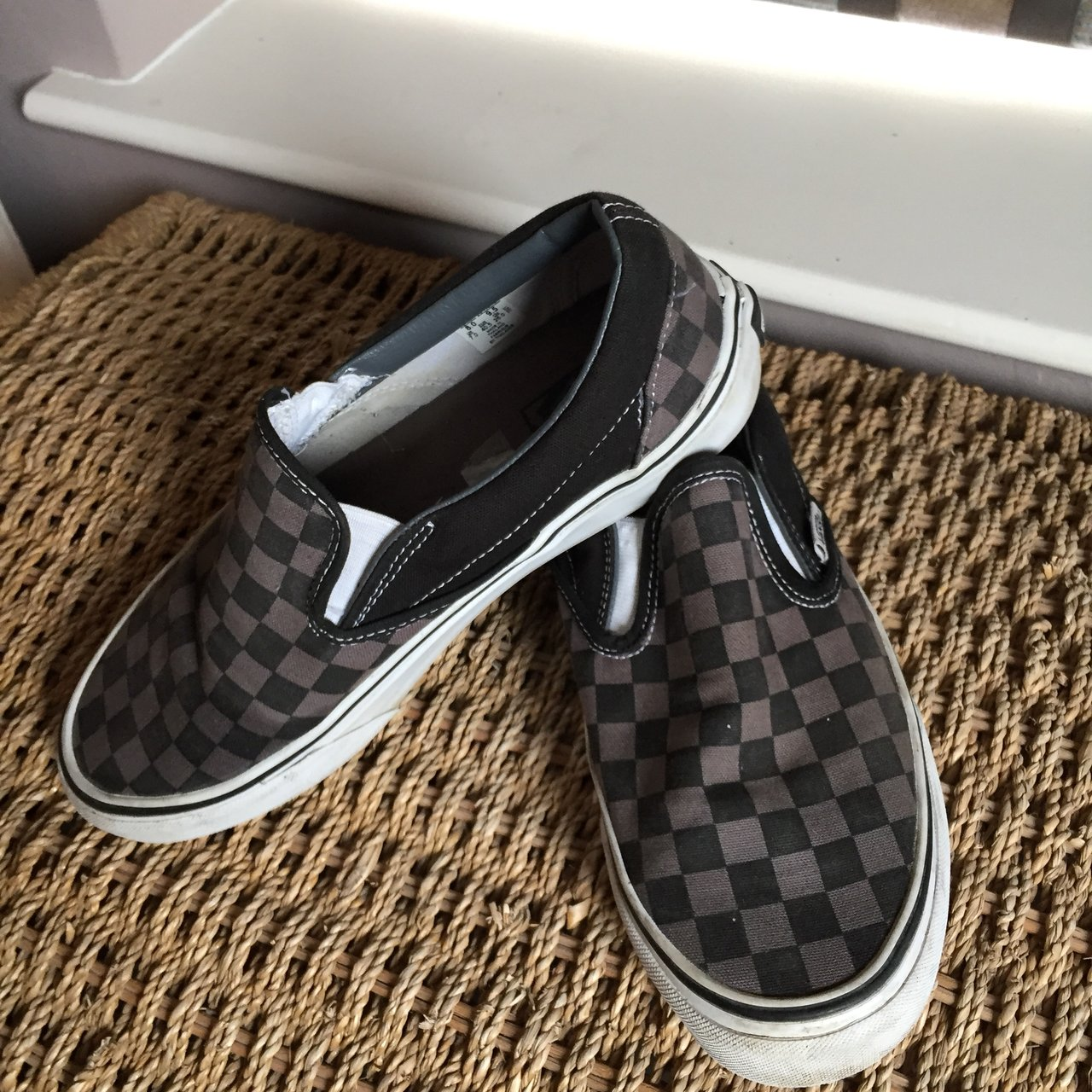 073d1dae13a Vans Grey Checkerboard Slip-on shoes. Great condition worn). - Depop