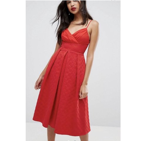 16440ae45b6d @fionaarkley. 7 days ago. Glasgow, United Kingdom. ASOS red scuba quilted  prom midi dress.