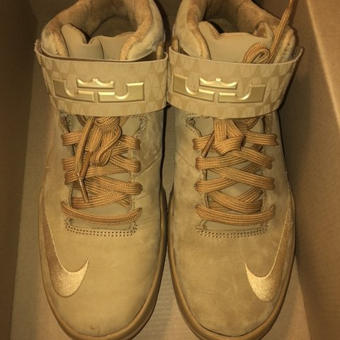 546e72f5532 AVAILABLE  perfect condition wheat lebrons. 5.5 youth. - Depop