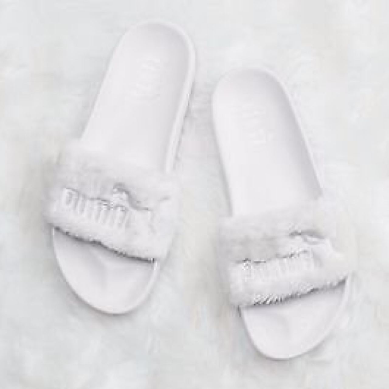 size 40 e7293 32b2b Leadcat fenty In white and cream faux fur slides/... - Depop