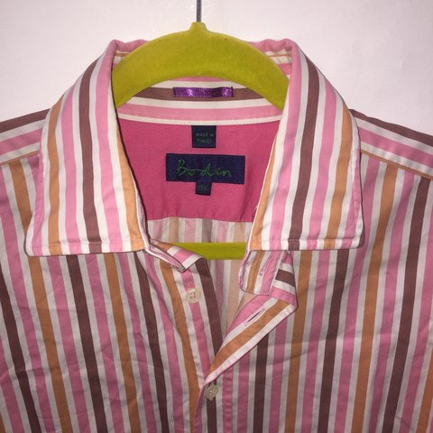 5690b43f39 Boden striped shirt - neck 15 1/2 inches with removable - Depop