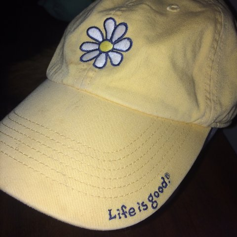 6df1b9902cbad Life is good yellow baseball cap Women s hat Buckle stains - Depop