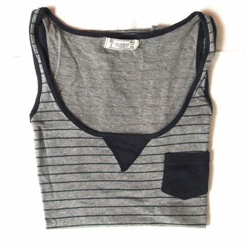 bef2710e742e92 Pull   Bear grey tank top with dark green stripes and navy - - Depop