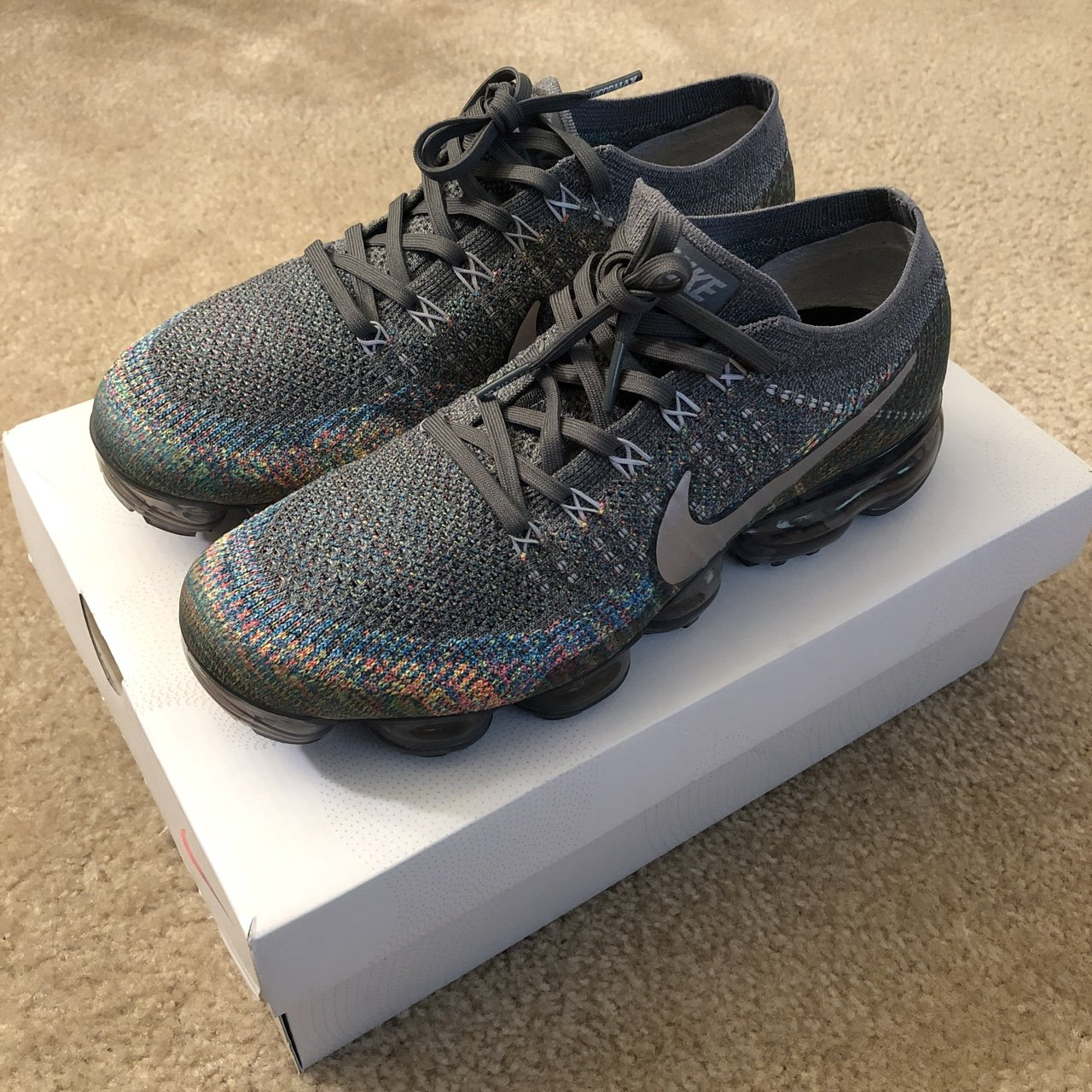 Air Vapormax Flyknit Grey Multi-Color 849558-019 100% only - Depop c9055959aa25