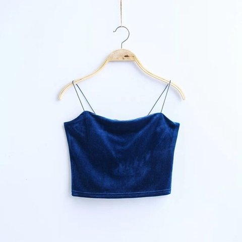 d0f6cc830544ab Blue velvet crop top with spaghetti straps. Cropped and very - Depop