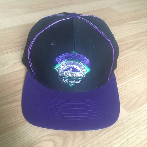 a0c085c0d18fa Vintage 90s MLB Colorado Rockies SnapBack hat made by the is - Depop