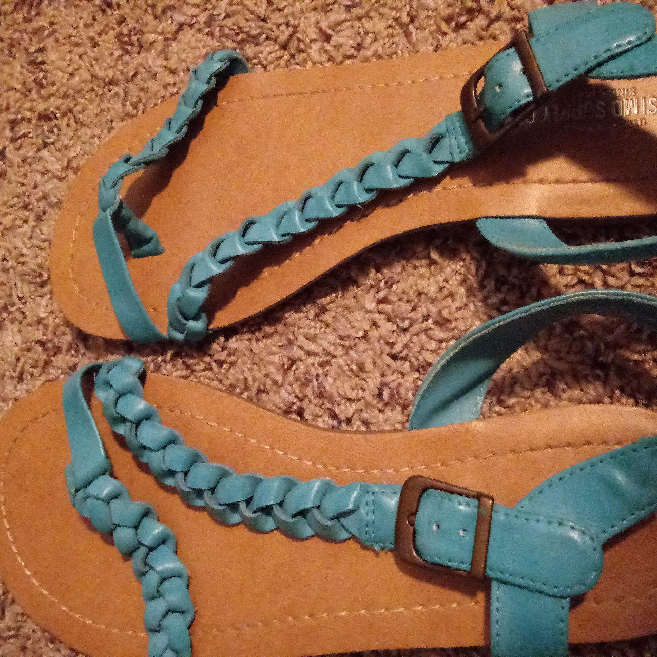 5017854e1c5d02 Teal braided sandals. Worn maybe three times. Super cute and - Depop