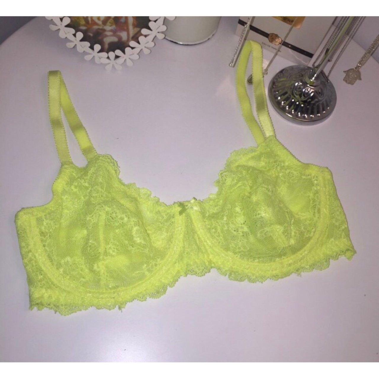 a17fcb01b0155 Neon yellow lace bra never worn only to model in pic size depop jpg  1280x1280 Yellow