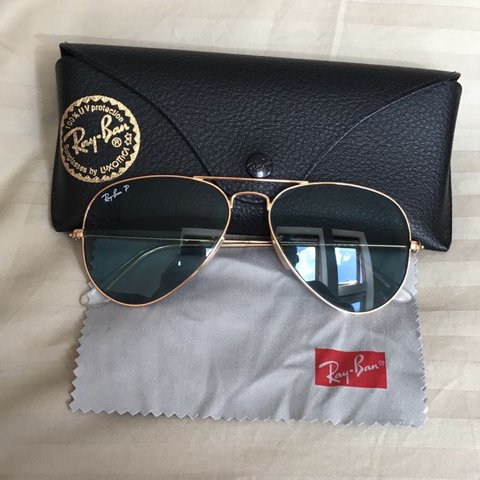 5b08842c24 Ray-Ban Aviator Classic Gold Rim Blue Polarised Lens come - Depop