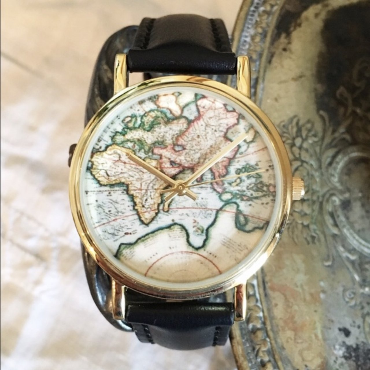 Urban Outfitters World Map Watch.Urban Outfitters World Map Watch Wore It Once Or Twice Depop