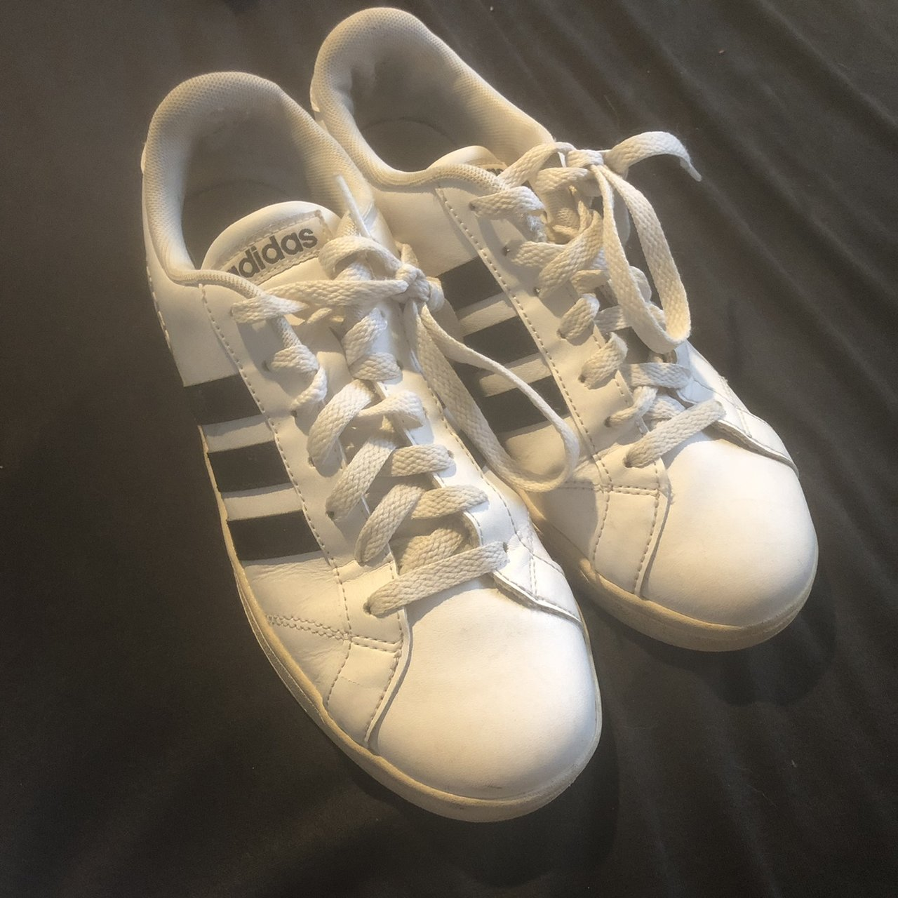 8ff043c4349 adidas super star striped shoes price negotiable sole is - Depop