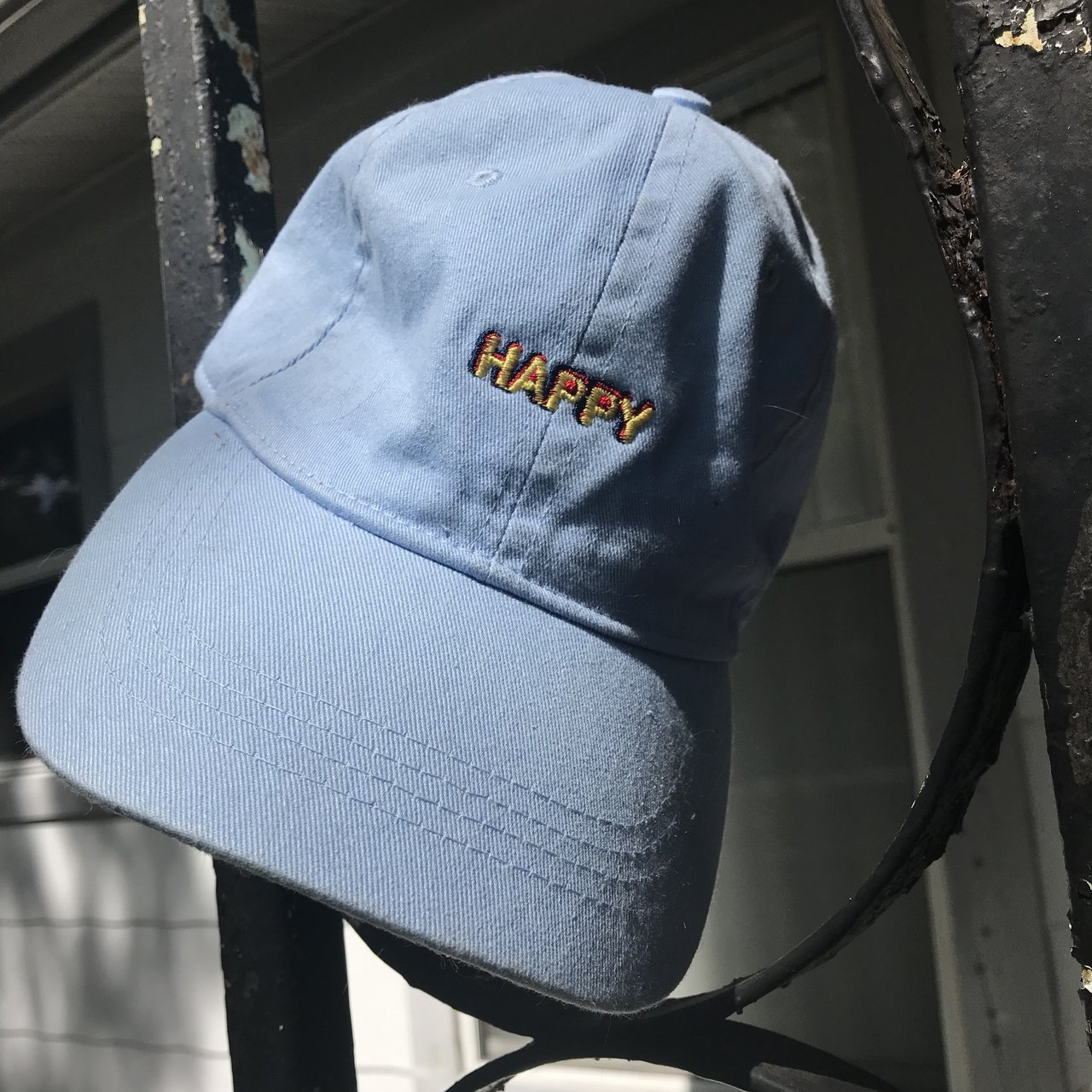 e2058889eb5 Baby blue HAPPY embroidered dad hat Adjusts by clip not with - Depop