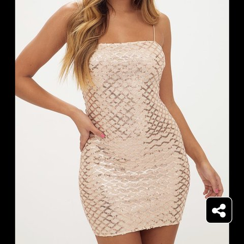 5715456057f9 @crystalsinclair17. 27 days ago. Carshalton, United Kingdom. pretty little  thing rose gold strappy sequin straight neck bodycon dress