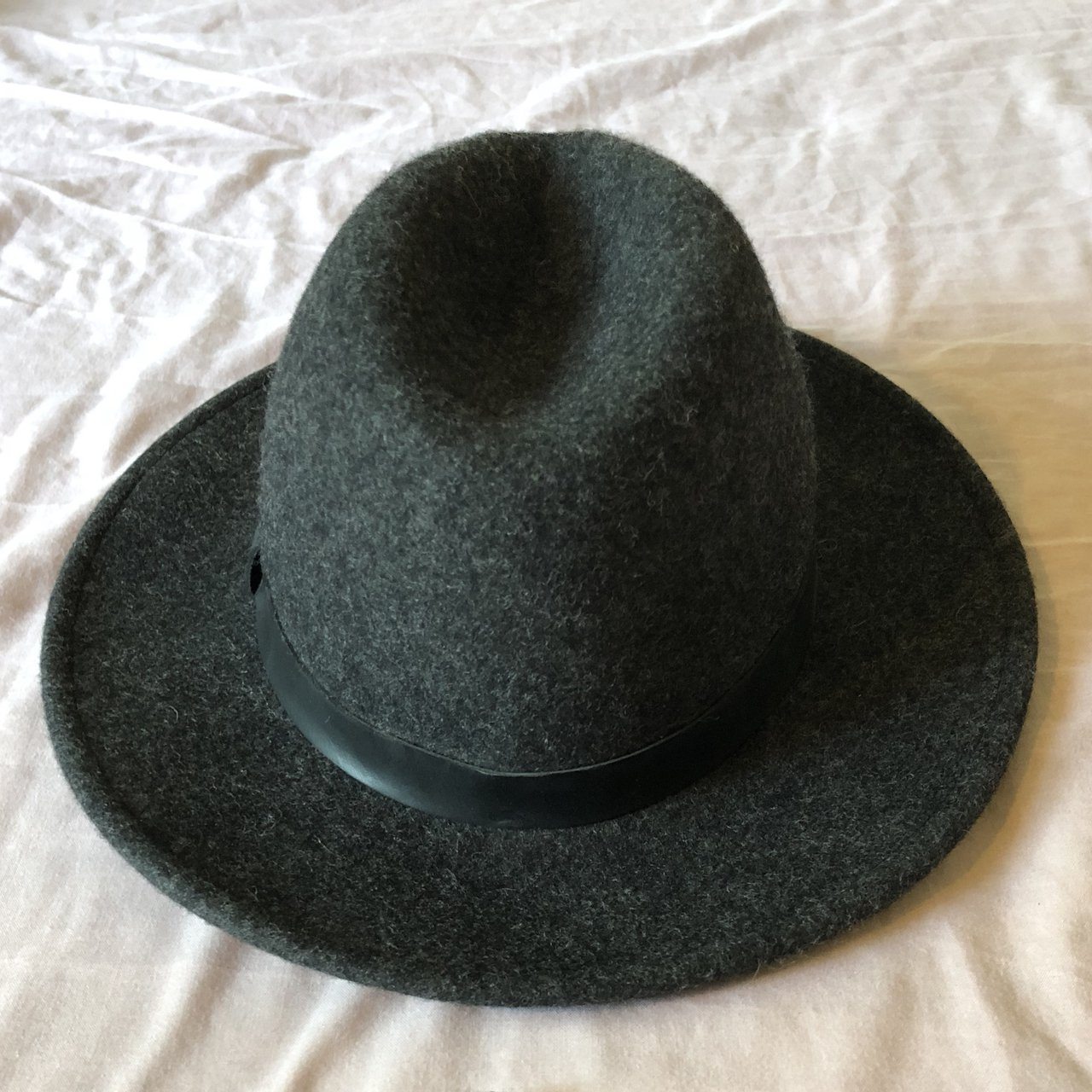 a3574b035740a Bronson Leather Fedora Hat from All Saints - Size  Fabric  - Depop