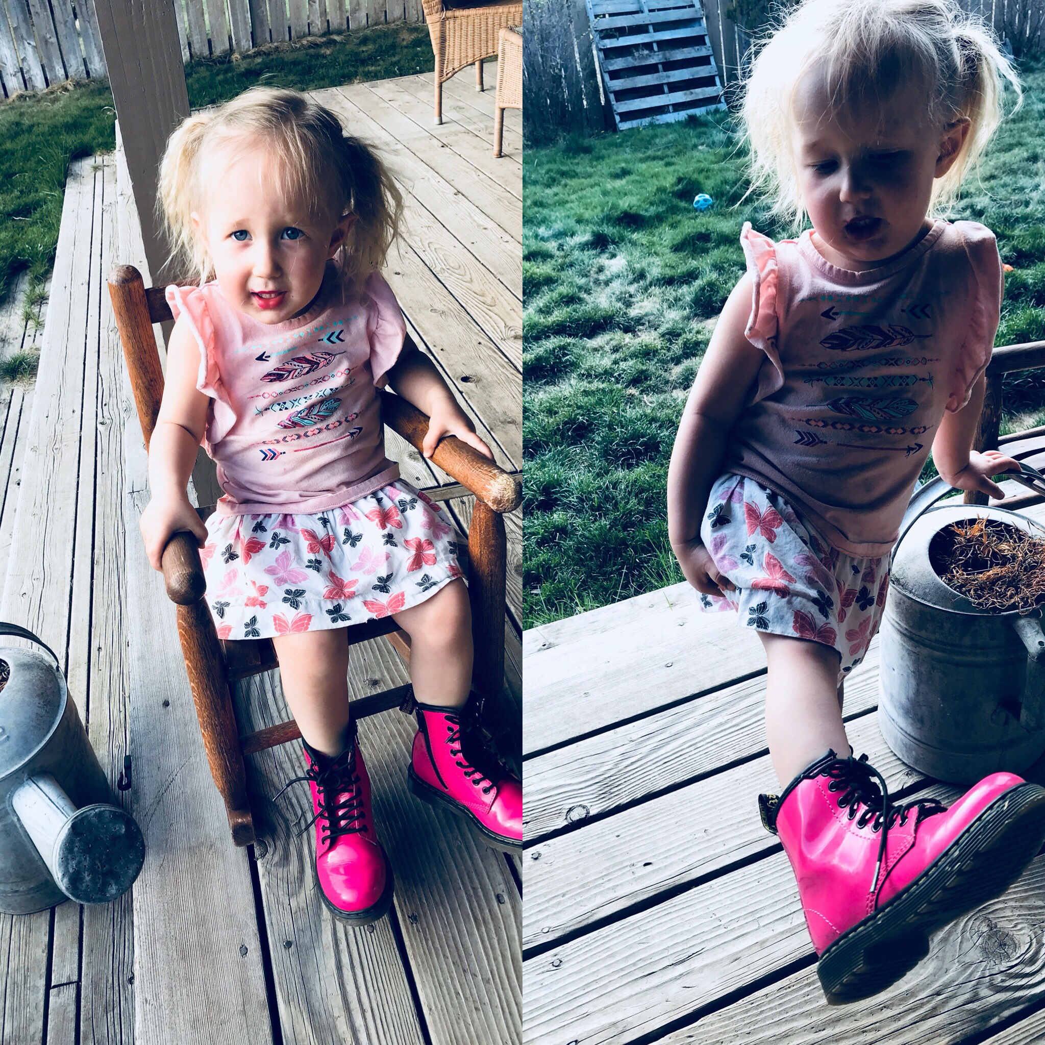 Kids pink patent leather dr martens
