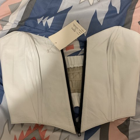 0de8e148388a4a Real leather white crop top. New with tags. Has slight marks - Depop