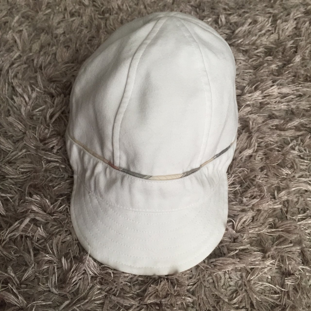 White Burberry baby boy cotton hat. Worn a few times but in - Depop 5230150e6914