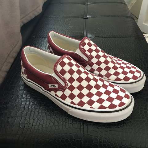 4d2525de1ea1 DEEP RED CHECKERED SLIP ON VANS. Worn only once to check and - Depop