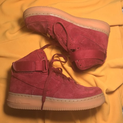 5650a17ebdda Burgundy Red Suede Nike Air Force 1 High Tops Super only 3 - Depop