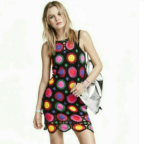 Hm Coachella Rainbow Crochet Dress Crocheted Mini Hand A Depop