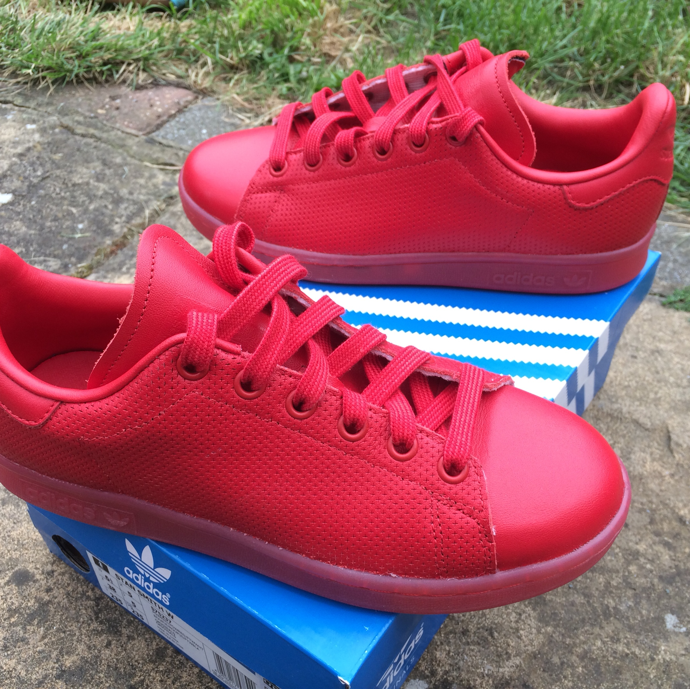 Adidas Stan Smith adicolor women's red trainers euro Depop