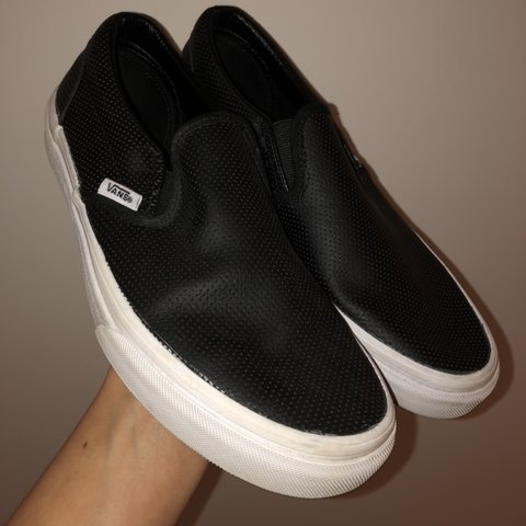 c9b351b7d4 black slip on vans. has cool perforated leather material the - Depop