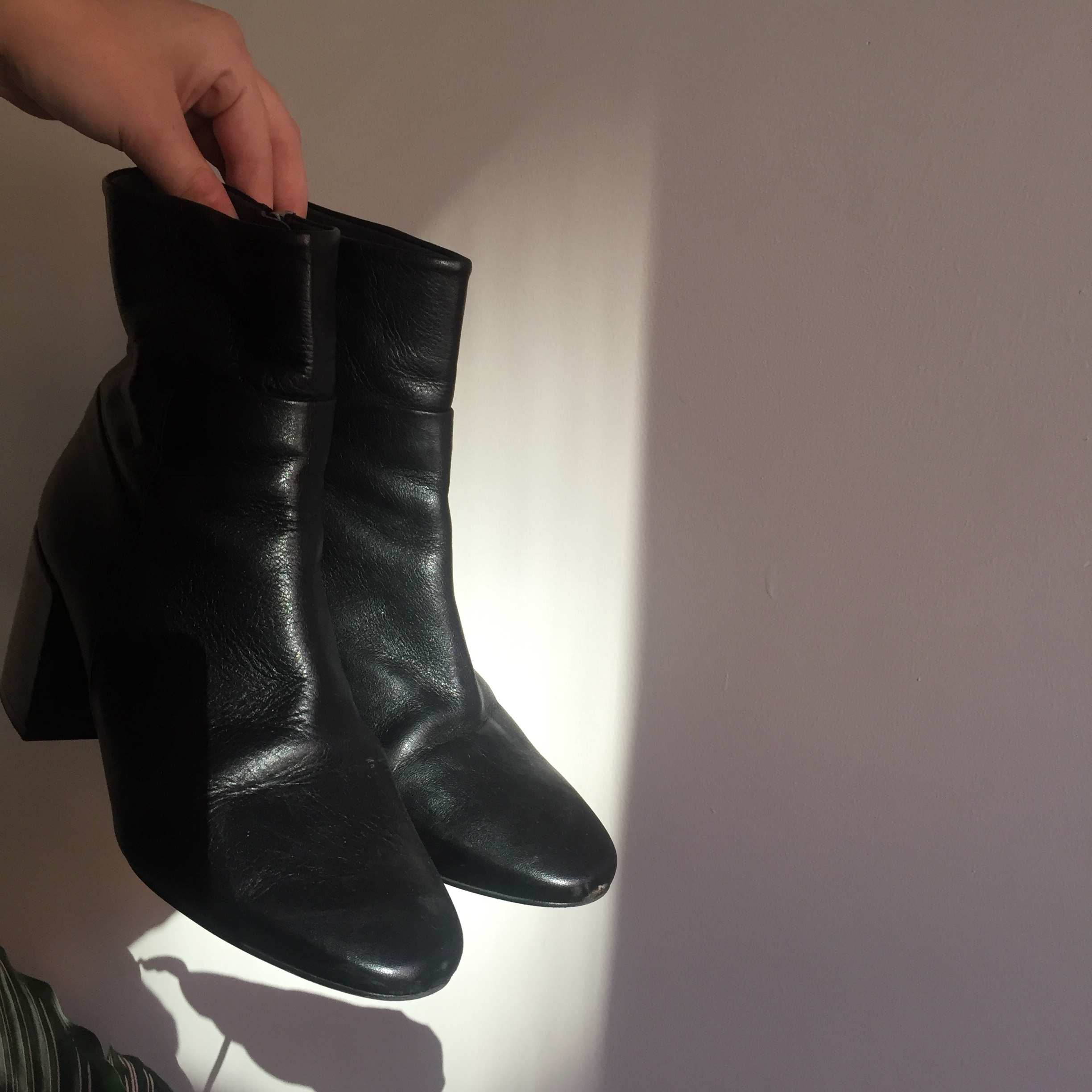 topshop black leather sock boots mid