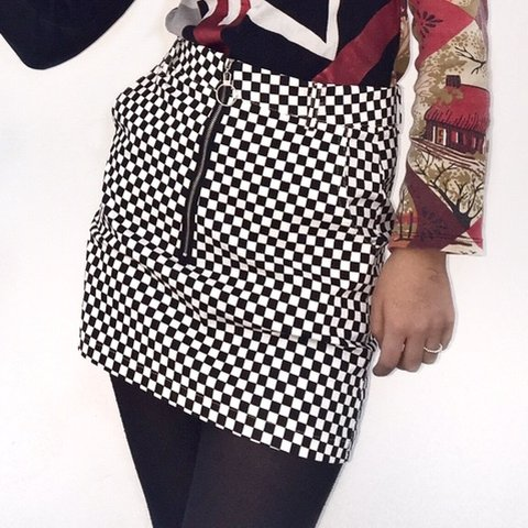 8f63a31ef35c @greenhorses. 3 months ago. London, United Kingdom. CHECKERED SKIRT - black  and white checkered miniskirt with o-ring