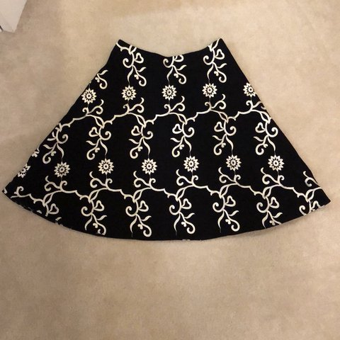 2ce98714edf2 Betsey Johnson a-line skirt. Black with cream embroidery. in - Depop