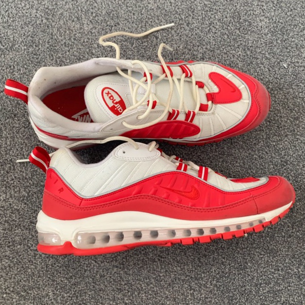 san francisco 0279c e9262 Nike Air Max 98s red & white. Only worn a couple of... - Depop