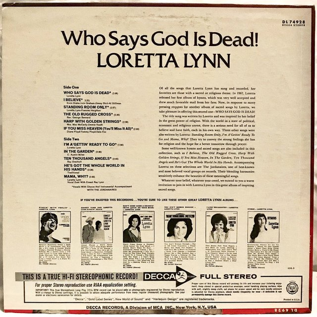Loretta Lynn - Who Says God Is Dead! (LP, Album)    - Depop