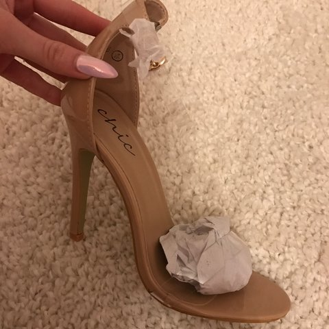 b7feaa7a6d47 Brand new nude patent heels with clear ankle strap and clear - Depop