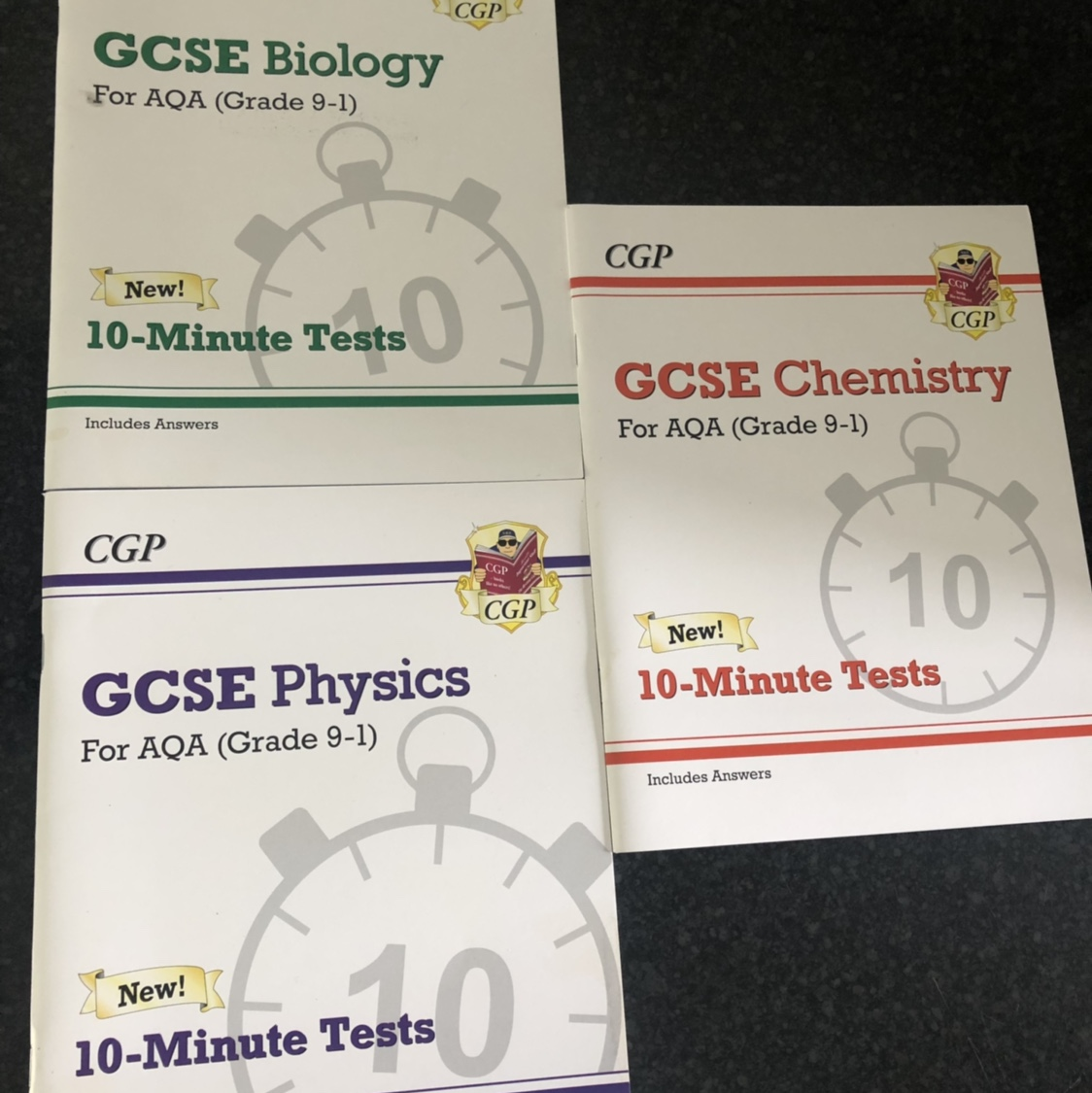 GCSE 10 Minute Test Books for Biology, Chemistry and