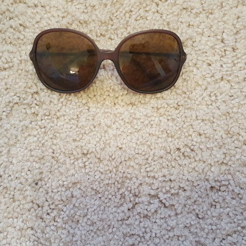 24b848c0cc1 Sunglasses- brown square plastic frames with metal arms and - Depop