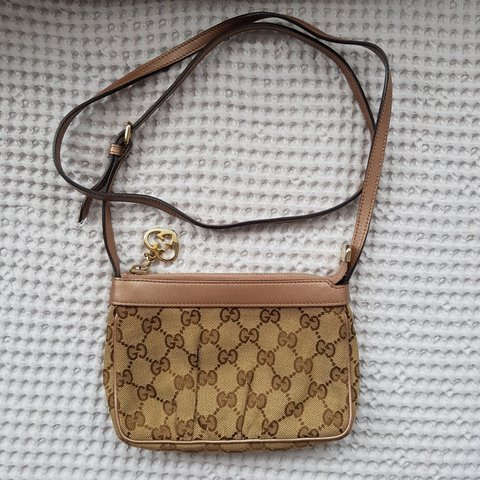 e846461518f GUCCI AUTHENTIC GUCCI MONOGRAM BROWN CANVAS   LEATHER SMALL - Depop