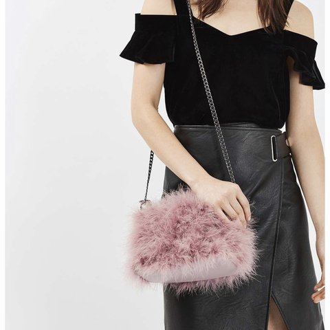 e3140f2f8ec7 Topshop lilac fluffy fur bag with long chain strap. (First - Depop