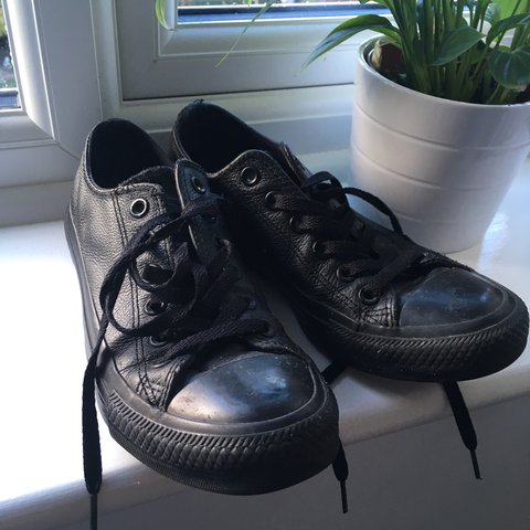 e236ee5b6cdd29 All black leather converse - size 5. Very good condition