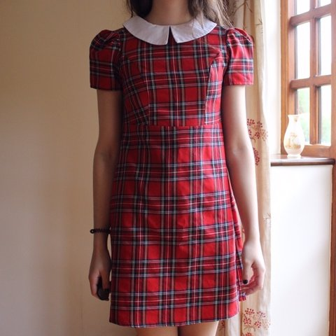 f68c9399f4 Red tartan collared dress. Really pretty and perfect for so - Depop