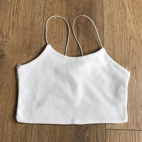 0ce6704a3f9 Boohoo white strappy crop top with lace back - Only worn or - Depop