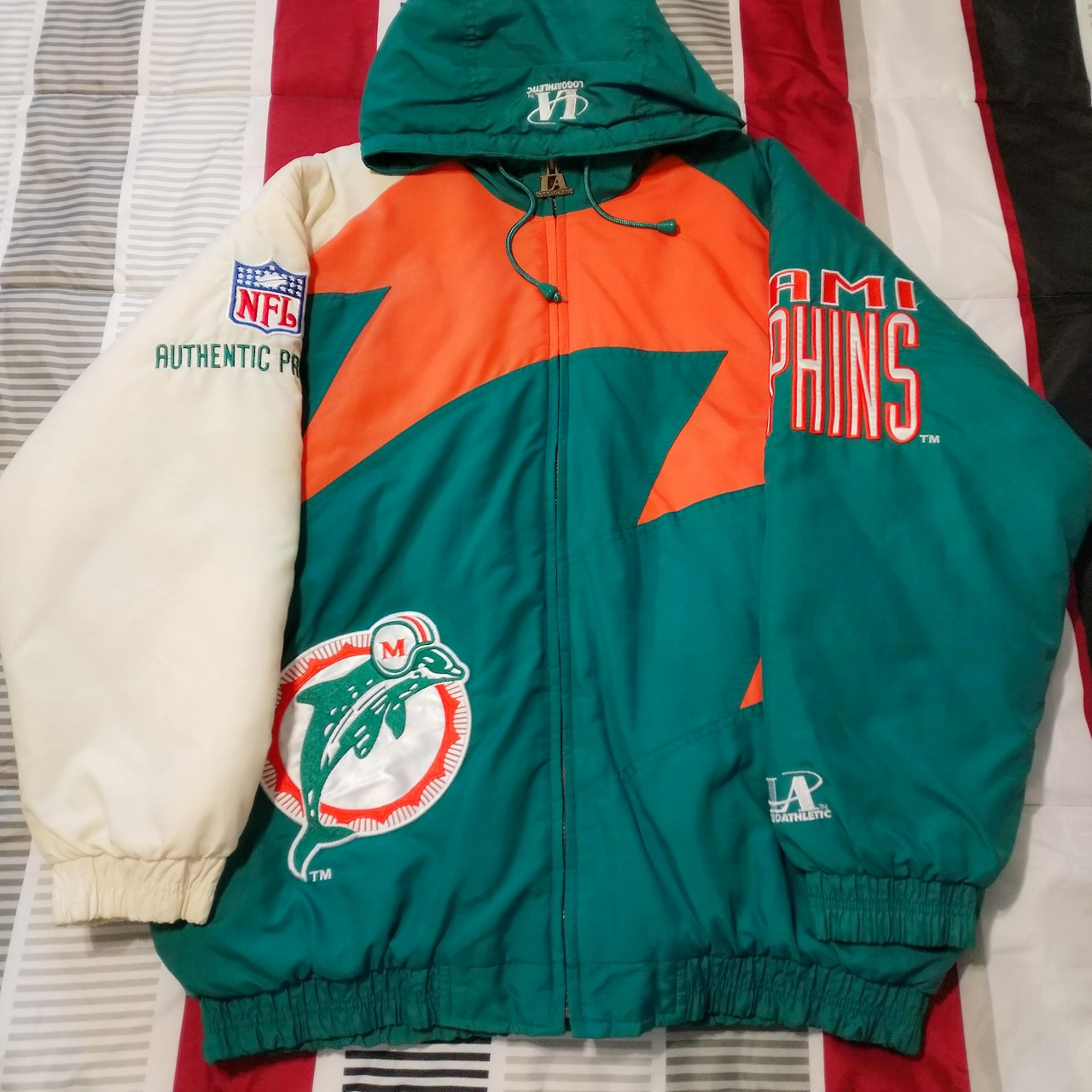 finest selection 62455 e6a39 Vintage Miami Dolphins NFL Shark Tooth Jacket Logo... - Depop