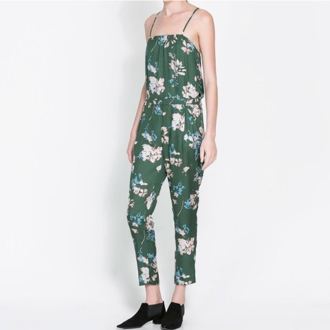 d1998ac5ca6 Zara silk floral printed jumpsuit size small! Worn once! - Depop