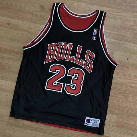 f8614351086 @drifters. 2 months ago. Annapolis, United States. Vintage Chicago Bulls  Reversible Champion Jersey #23 Michael Jordan like new condition minor flaws